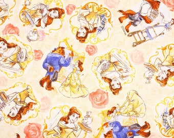 """Disney Beauty and the Beast Oxford Fabric made in Japan FQ 45cm by 53cm or 18"""" by 21"""""""