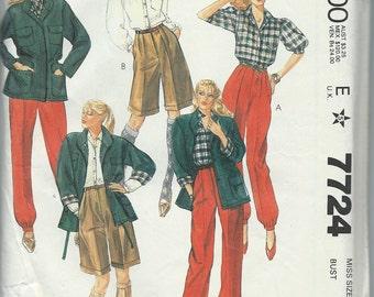 McCall's 7724 Misses' Jacket, Pants, Shorts, Shirt and Ascot - Size 6 - Uncut Vintage Pattern