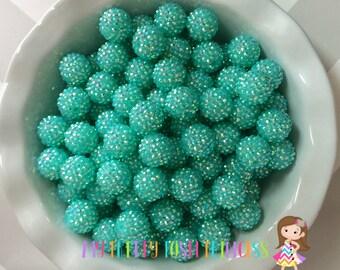 20mm Little Mermaid AB Rhinestones Chunky Bubble Gum Beads Set of 10 *New