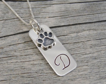 Mom Necklace For Pet Owners - Hand Stamped Jewelry - Personalized Jewelry - Initial - Pet Jewelry - Sterling Silver - Paw Print Charm