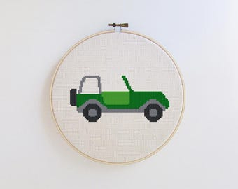 Offroad Jeep embroidery - jeep cross stitch pattern - PDF - Instant download