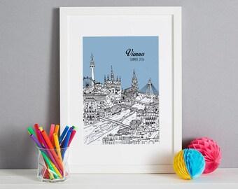 Personalised Vienna Print | Unique Wedding Gift | Vienna Picture | Vienna Art Print | Travel Gift | Unique Birthday Gift | Vienna Gift