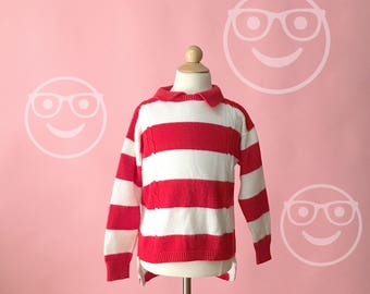 Vintage 1980s Health Tex Red And White Striped Where's Waldo Sweater (Boys/Girls Size 6)