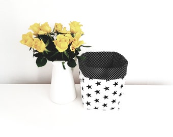 Fabric storage basket, organizer, monochrome, stars, black and white. Nappy basket, toy storage, nursery decor, kids room. Baby shower gift.