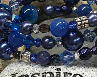 Memory Wire Wrap Bracelet, Blue, Cobalt, Navy, Silver