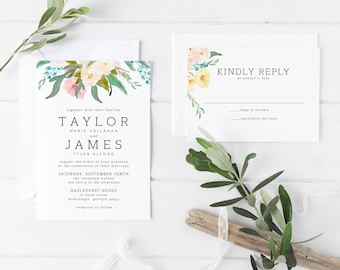 Printable Wedding Invitation Suite | Pastel Floral Invitations | Botanical Invitations | Chic Invites | Modern Wedding Invitations | WI-010