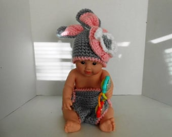 Easter Bunny Hat and Diaper Cover Set
