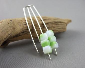 Milky Lime Green Cube Earrings - Lime Green Czech Glass and Sterling Silver Modern Earrings