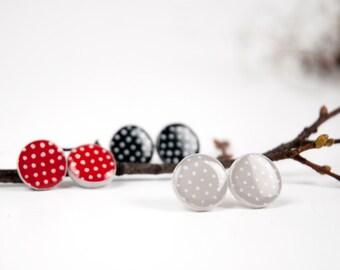 Polka Dot Post Earrings, Dotted Studs, Stud Earings, Minimalist Jewelry, Polka Dot Earrings, Gray Polka Dot
