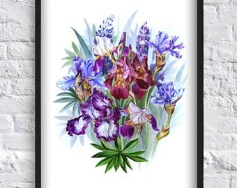 Watercolor Blue Iris Print - Flower Wall Art -  Flower Poster-  Botanical Illustration - Flower Art - Living Room Decor - Bedroom Decor