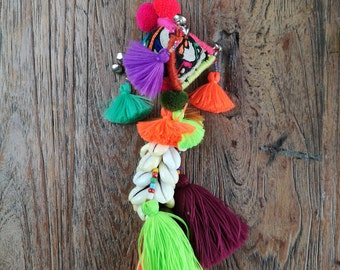 Up Cycled Textile Cowrie Shell Keyring /Bag Accessory With Brightly Coloured Tassels And Bells
