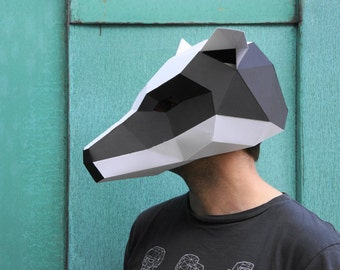 Badger Mask - make your own polygon animal mask