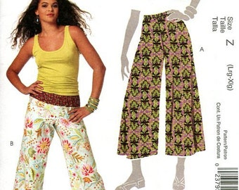 FREE US SHIP McCall's 5813 Funky Pants 2009 Pullon Hipster Wide Leg Boho Hippie Capri Size 4/14 New Sewing Pattern Out of Print 2009