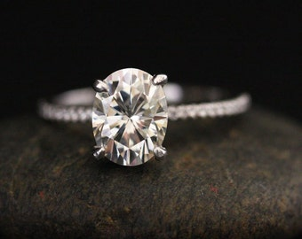 Forever Classic Moissanite Oval 9x7mm and Diamond Half Eternity Engagement Ring in 14k White Gold
