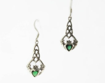 Celtic Earrings~Emerald Green Claddagh Earrings~Silver Emerald Heart Claddagh Earrings~May Birthstone Jewerly~Celtic Gift for Her