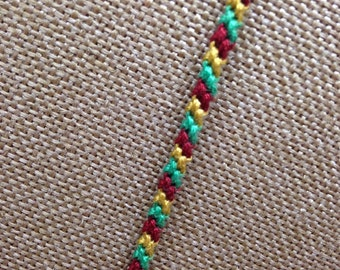 Diagonal Style 3 Color Friendship Bracelet Maroon, Green, Gold