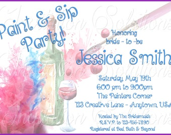 Paint and Sip Style 2 Bridal Shower or Birthday Party Invitation/ Let's Paint and Drink Party invite