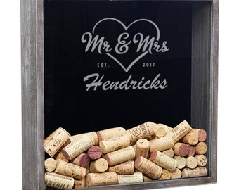 Personalized Shadow Box, Wine Cork Holder, Wedding Guest Book, Gifts For The Couple, Wedding Gift, Anniversary Gift