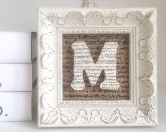Framed Initial Book Letter, Framed Book Letter, Book Lover Gift, Gift for Book Lover, Letter M Book Page Letter, Book Page Art, Wood Letter