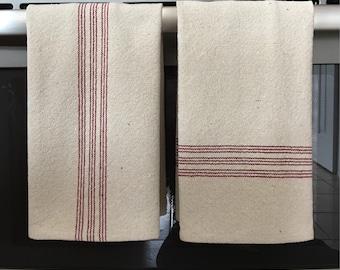 Grain Sack Kitchen Towel Red Stripes
