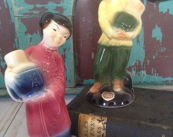 Vintage Royal Copely Asian Boy and Girl Carrying Water Jugs