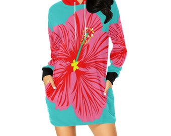 HIBISCUS flower hoodie mini dress