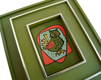 Vintage Retro Owl Art Avocado Green , Kitschy Owl Art, 1970 Plastic Wall Art by Decorative Dimensions, Mid Century Mod Owl Art