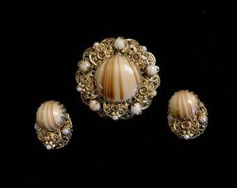 Gold Plated Filigree Brooch & Earring Set W/Pearls
