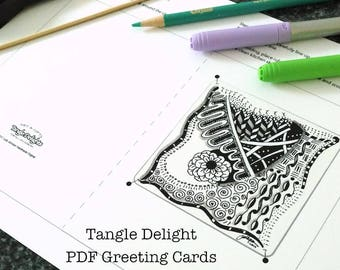 TangleDelight Art Card #1, Instant Download PDF, For all Occasions. DYI-Make your own card, Greeting Card, Fun to make!
