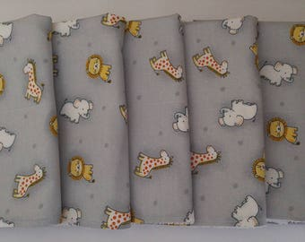 Handmade Elephant, Lion & Giraffe Animal Baby Burb Cloths, Baby Shower, Gift, 6 Pack, Baby Girl, Baby Boy, Nursery, Newborn