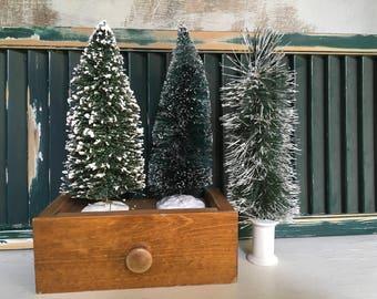 Bottle Brush Trees, Vintage Christmas, 1960s, Bottle Brush Tree, Set of 3, Christmas Trees, Christmas Village, Vintage Supplies, Putz Houses