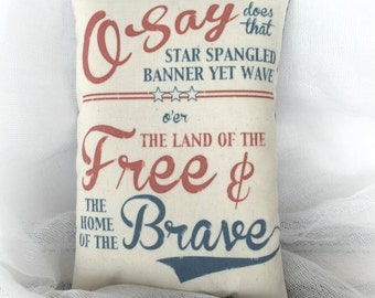 Star Spangled Banner pillow | Patriotic decor | Primitive Americana decoration | Red white blue decor | USA accent