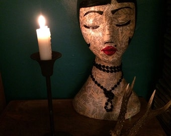 Vintage Mannequin / bohemian art head / hat & jewellery stand / mannequin head /bohemian decor/ The Fox and Alice