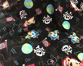 Pirate monkeys black and red satin minky blanket