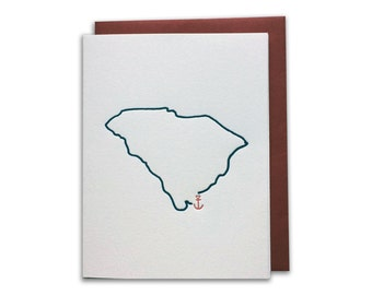 Box of 6 // Hilton Head Island Map Anchor Letterpress A2 Card