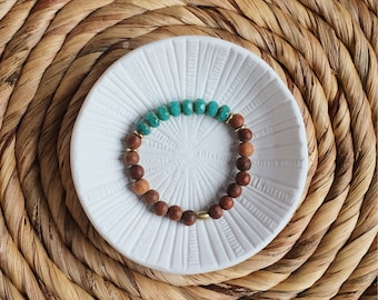 Turquoise Czech Glass, Brass and Bayong Wood Beaded bracelet