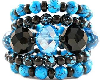 Blue Bracelet, Black and Blue Bracelet Set, Chunky Bracelet, No Clasp Bracelet, Jewelry for Teenage Girls, Cute Bracelets, Coil Bracelet