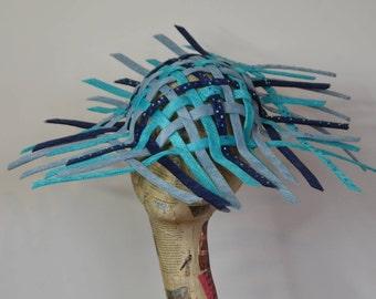 Blue woven sinamay headpiece