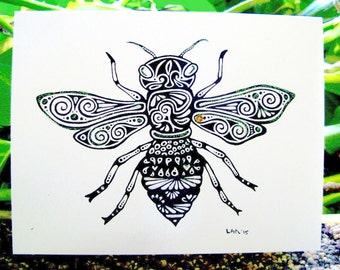 Honeybee Greeting Card- hand drawn greeting card on recycled paper with Glitter embellishments.