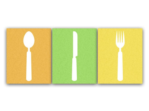 Kitchen Art INSTANT DOWNLOAD Fork and Spoon Wall Decor