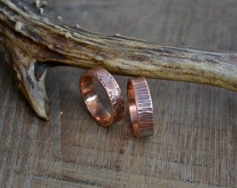 Wedding copper ring band, set of 2 copper ring band, textured copper ring band, thick copper ring band, women simple copper rings, ring set