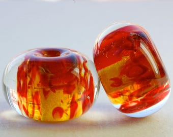 Sale handmade lampwork glass beads boro bead pairs for earrings - Tiger Lily by Paulbead