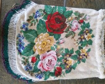 Micro Glass Beaded Floral Drawstring Reticule Flapper Purse Handbag
