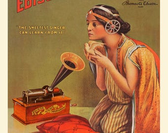 Reproduced vintage Edison Cylinder Phonograph Canvas Print