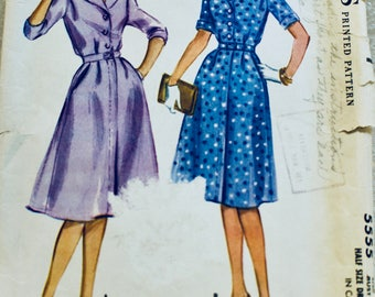 McCall's Vintage 1960 Dress Pattern~5555~Loose Fit Bodice, A-Line Skirt, Short or 3/4 Sleeves, Notched Collar~Front Buttons. Uncut. Sz 14.5