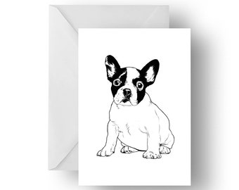 Pop Frenchie blank greeting card- French bulldog greeting card, dog card, Frenchie Greeting card, Bulldog greeting card, Birthday card