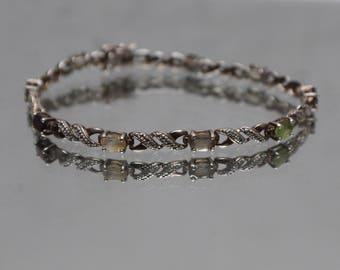 925 - Vintage Multi Stone Diamond Illusion Infinity Peridot Garnet Smoky Quartz CZ in Sterling Silver