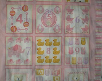 Pink baby quilt Panel