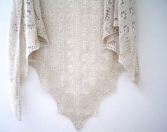 linen knit shawl, wraps, vintage shawl, Knitted Shawl, Knit Shawl, Summer Shawl, Wrap, linen scarf, knit Shawl, lace Shawl, gift for her