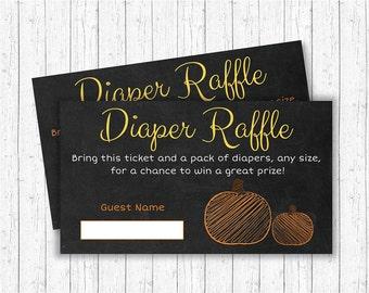 Pumpkin Diaper Raffle Tickets / Pumpkin Baby Shower / Chalkboard Pumpkin / Fall Baby Shower / Gender Neutral / INSTANT DOWNLOAD A197